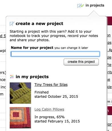 in projects button
