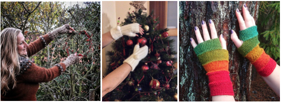 Three photos: gloved hands hanging a wreath on a tree, gloved hands hanging ornaments and rainbow gloves held against a tree.