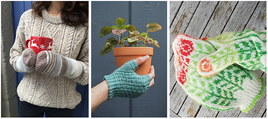 Three photos: Hands with mittens holding a red mug, aqua fingerless gloves holding a plant in a pot and a hand in a Fair Isle mitt holding its match