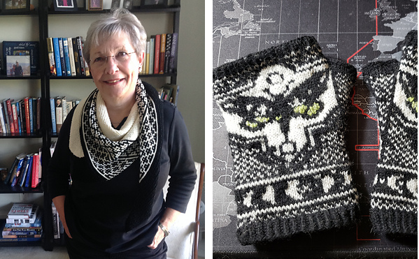 A black and white shawl on a woman in a black shirt on the left and some black and white mitts on the right