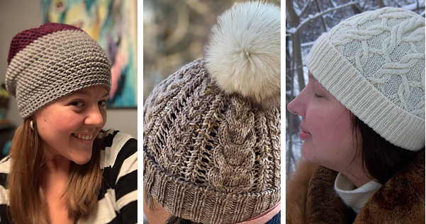 On the left, a light brown crochet hat with a maroon top, in the middle a light brown cabled hat with a large cream pom pom and on right a cream cabled hat in the snow