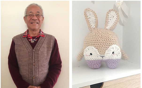 Man in grey vest on the left and a little crocheted bunny on a shelf on the right