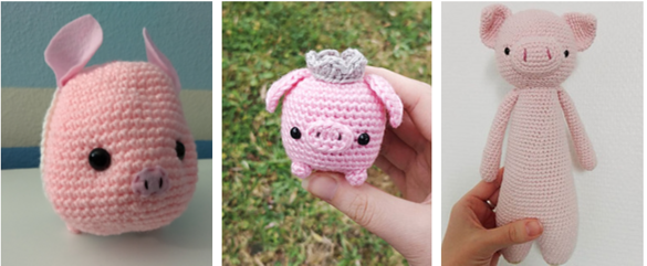 Amigurumi pigs: from left to right, a small one with felt ears, a small one with a crown and a tall narrow one