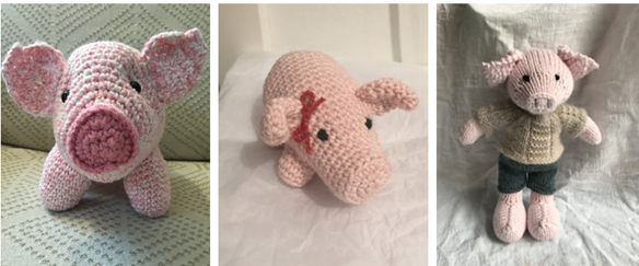 Three pig stuffies, from left to right: one with crinkly ears, a pig with a bow and a pig in clothes